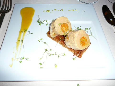Ballottine de foie gras, clémentines et pain d'épice