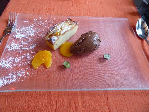 Financier à l'orange et mousse choco-caramel