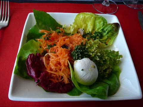 Salade de carottes sur feuilles vertes