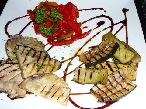 Trio de légumes : aubergines marinées, poivrons aigre-doux, courgettes au citron