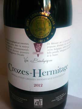 Crozes-Hermitage Bio 2012, Cave de Tain