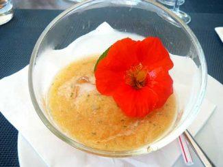 Soupe glacée de melon parfumée à la menthe