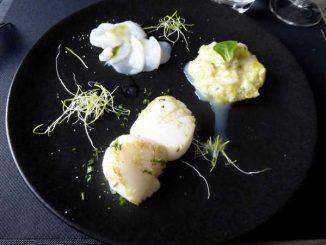 Trilogie de noix de Saint Jacques : en tartare à la mangue en carpaccio au citron vert et poêlée
