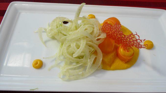 Salade fenouil, crémeux de carotte à l'orange
