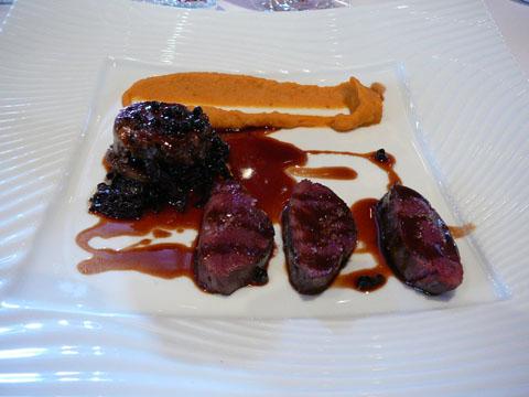 Canard Col Vert en deux cuissons, purée de courge - réglisse - marrons