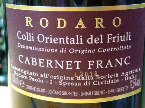 Cabernet Franc, Colli Orientali del Friuli, Paolo Rodaro 2007