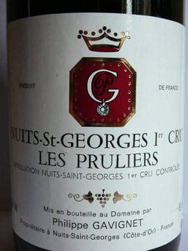 Nuits-Saint-Georges 1er Cru Les Pruliers, Philippe Gavignet, 1999