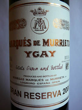 Marques de Murrieta Ygay, Rioja Gran Reserva, 2000