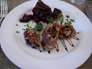 Croustillant de pieds de porc au foie gras et vinaigre balsamique