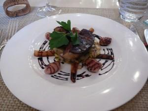 Foie gras poêlé et sot-l'y-laisse de poularde