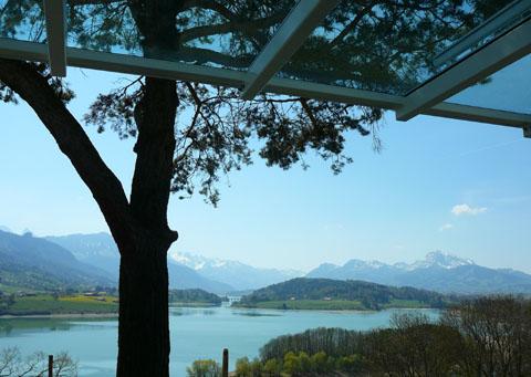 Vue sur la Gruyère depuis la terrasse