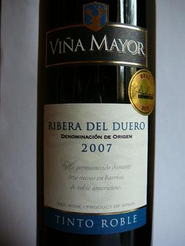 Vina Mayor, Tinto Roble, Ribera Del Duero, 2007