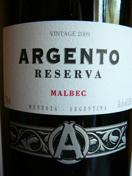 Malbec Reserva, Argento, 2009