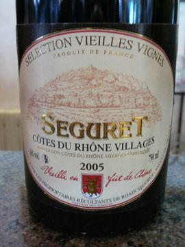 Séguret Vielles Vignes 2005