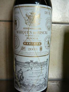 Marques de Riscal Riserva, Rioja, 2003