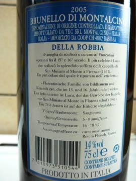 Brunello di Montalcino DOCG, Della Robbia, 2005