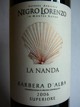 La Nanda, Negro Lorenzo, Barbera d'Alba Superiore, 2006