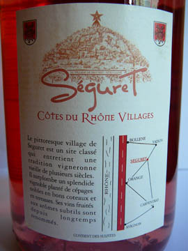 Séguret Rosé, Côtes du Rhône Village, 2009