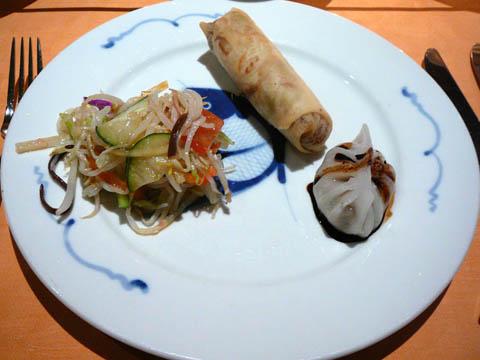 Rouleau de printemps / Raviolis au canard / Salade à la chinoise