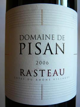 Domaine Pisan, Rasteau, Côtes du Rhône Villages, 2006