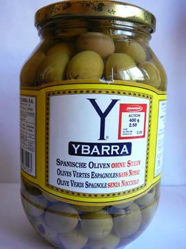 Olives vertes espagnoles sans noyau Ybarra