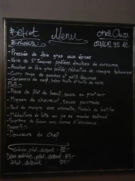 Chez Cavu - Ardoise du soir
