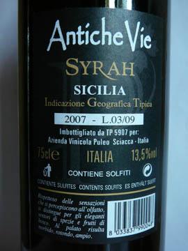 Syrah Antiche Vie, Sicilia IGT, 2007