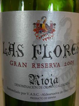 Las Flores Gran Reserva, Rioja DOC, 2003