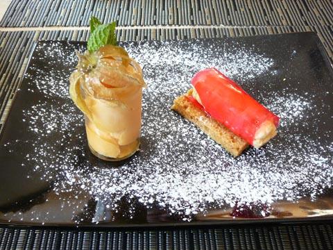 Chrysalide de potimarron et abricot au pain d'épice, glace potimarron abricot
