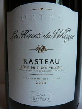 Les Hauts du Village, Rasteau, Côtes du Rhône Villages, 2005