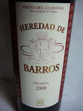 Heredad de Barros Crianza, Ribera del Guadiana DOC, 2008