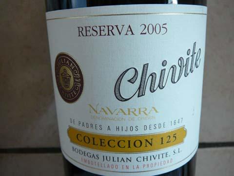 Chivite Collecion 125 Reserva, Navarra DOC, 2005
