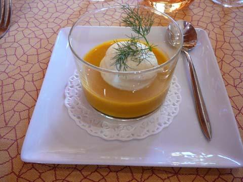 Soupe de potiron et mousse de curry