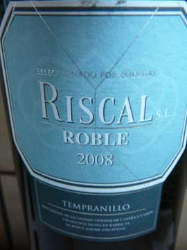 Riscal Tempranillo Roble 2008
