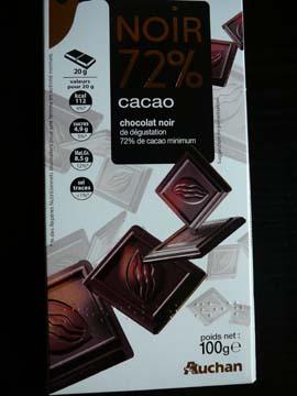 Chocolat noir 72 % Auchan
