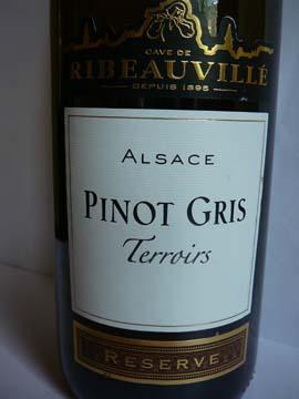 Pinot Gris Réserve Terroirs, Cave de Ribeauvillé, 2008