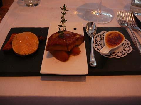 Le foie gras : Terrine maison sur pain d'épices comme un pain perdu, Escalope poêlée sur pomme rôtie au miel, Crème brûlée de foie gras