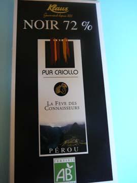 Chocolat Noir 72% Pur Criollo Klaus