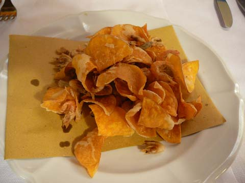Chips de courge et friture
