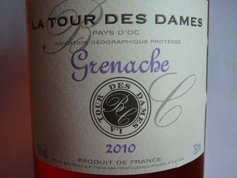 La Tour Des Dames, Grenache Rosé 2010