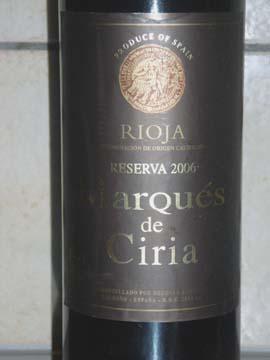 Marques de Ciria Reserva 2006