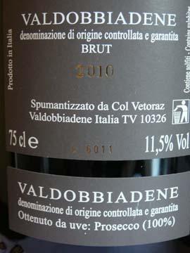 Prosecco Brut 2010 Col Vetoraz
