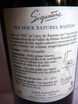 Signature Vin Doux Naturel Rasteau