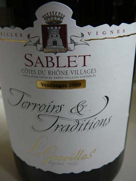 Sablet Terroir et Tradition 2009, Gravillas