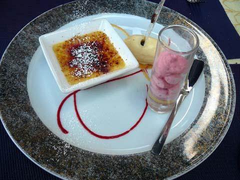 Crème brûlée à la framboise, crème glacée maison