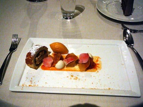 Apricot Mascaparone Cake, Vanilla Bean Panna Cotta Spheres, Compressed Apricot with Lemon Verbena and Apricot Honey Sorbet