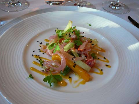 Maine Lobster, Manila Mango and Spring Vegetables with Lemongrass and Ginger