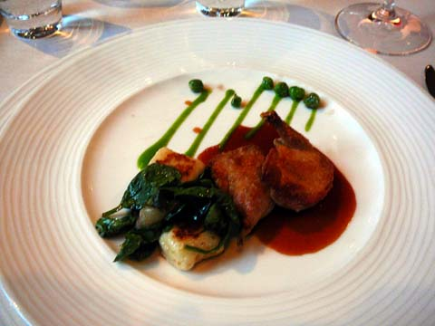 Pan Roasted Wolfe Farm Quail with Ricotta Gnocchi, Ramps, Bloomsdale Spinach