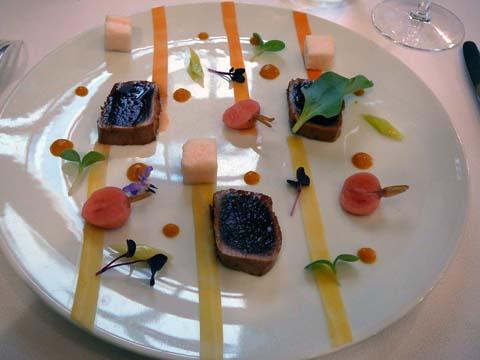 Thon et légumes marinés, vinaigrette d'agrumes et coriandre