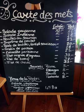 Café de la Poste - Villars-Mendraz - La Carte